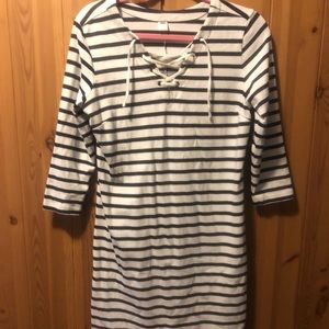 Old Navy Navy Blue and White Stripped Dress